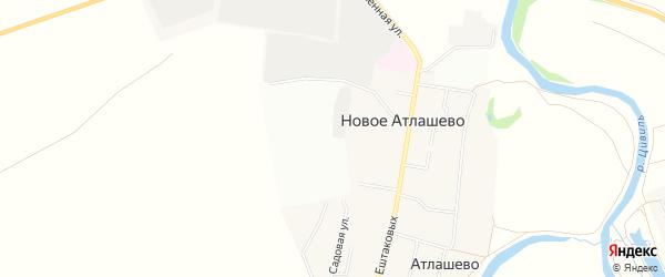 Карта поселка Новое Атлашево в Чувашии с улицами и номерами домов