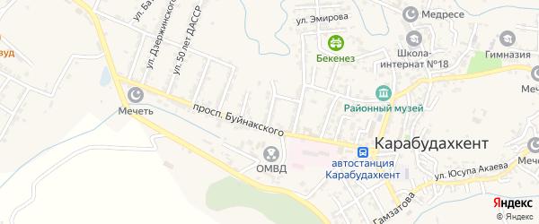 Улица Родовского на карте села Карабудахкента с номерами домов