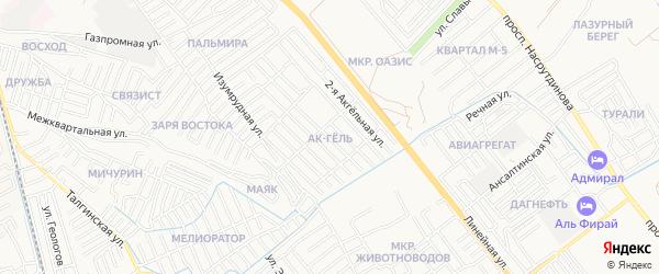 Карта микрорайона Ак-Гель города Махачкалы в Дагестане с улицами и номерами домов