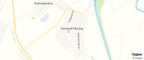 Карта деревни Нижнего Магази в Чувашии с улицами и номерами домов