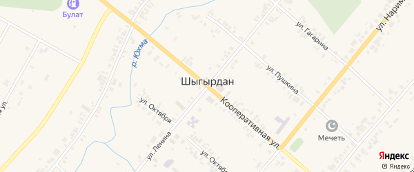 Кооперативная улица на карте села Шыгырдана с номерами домов