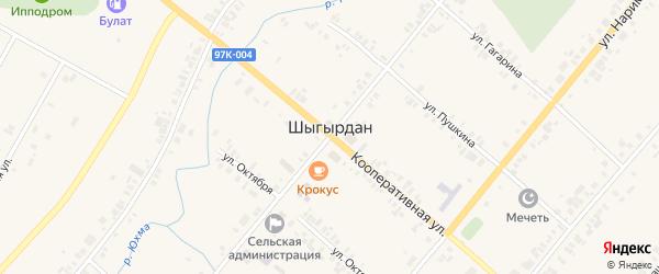 Улица Минхайдер Валитова на карте села Шыгырдана с номерами домов