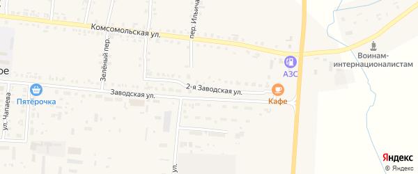 2-я Заводская улица на карте Комсомольского села с номерами домов