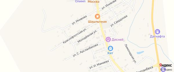 Молодежная улица на карте села Карабудахкента с номерами домов