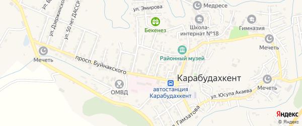 Улица О.Кошевого на карте села Карабудахкента с номерами домов