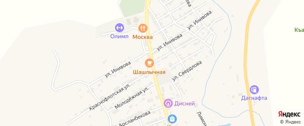 Краснофлотская улица на карте села Карабудахкента с номерами домов