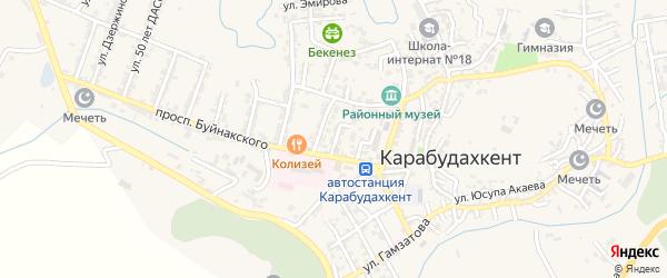 2-й тупик на карте села Карабудахкента с номерами домов