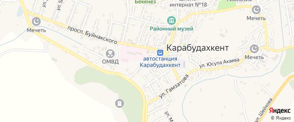 Улица Космонавтов на карте села Карабудахкента с номерами домов