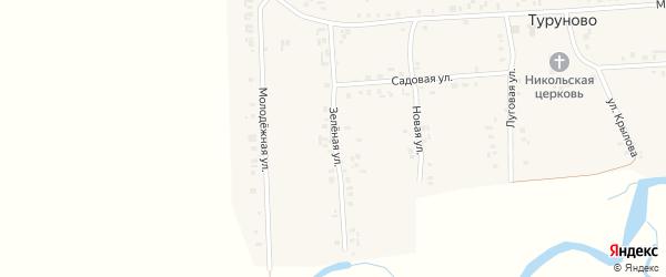 Зеленая улица на карте села Туруново с номерами домов