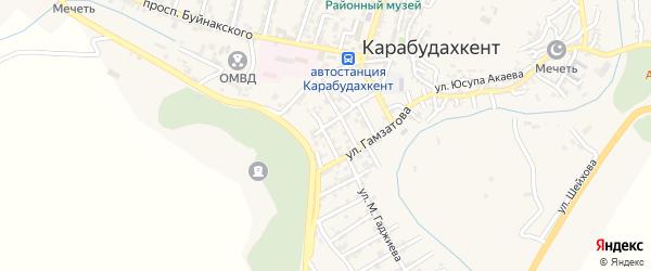 Улица Сафронова на карте села Карабудахкента с номерами домов