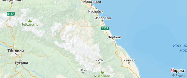 Карта Дахадаевского района республики Дагестан с городами и населенными пунктами