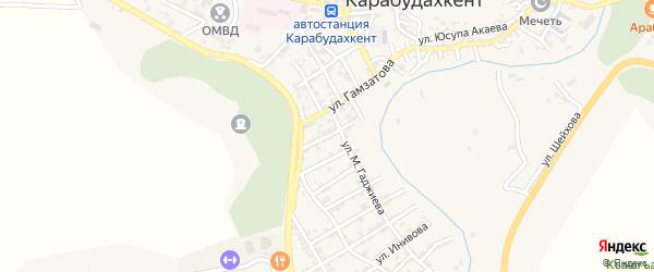 Улица Вишневского на карте села Карабудахкента с номерами домов