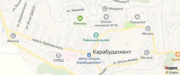 Садовая улица на карте села Карабудахкента с номерами домов