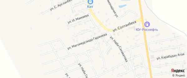 Улица Магомедсаида Гаджиева на карте села Карабудахкента с номерами домов