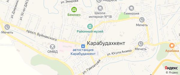 Улица Дахадаева на карте села Карабудахкента с номерами домов