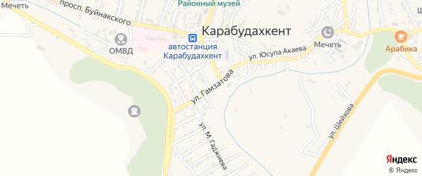 Улица Гамзатова на карте села Карабудахкента с номерами домов