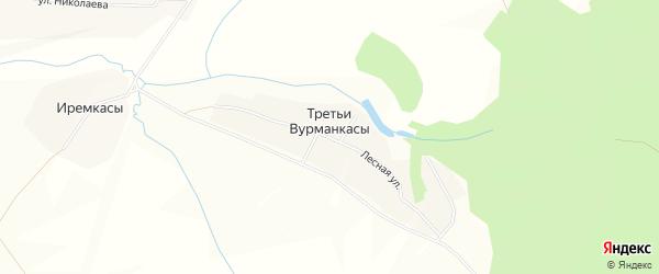 Карта деревни Третьи Вурманкасы в Чувашии с улицами и номерами домов