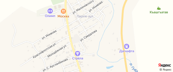 Улица Свердлова на карте села Карабудахкента с номерами домов