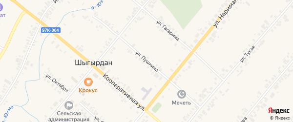 Улица Пушкина на карте села Шыгырдана с номерами домов