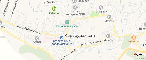 Советская улица на карте села Карабудахкента с номерами домов