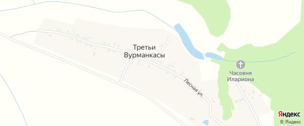 Лесная улица на карте деревни Третьи Вурманкасы с номерами домов