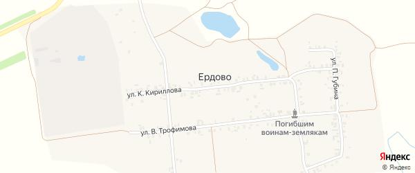 Улица К.Кириллова на карте деревни Ердово с номерами домов