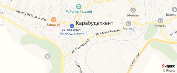 Улица Агасиева на карте села Карабудахкента с номерами домов