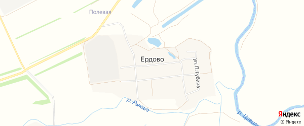 Карта деревни Ердово в Чувашии с улицами и номерами домов