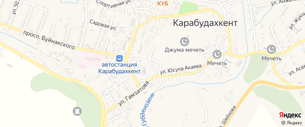 Улица Дауда Карабудахкентского на карте села Карабудахкента с номерами домов