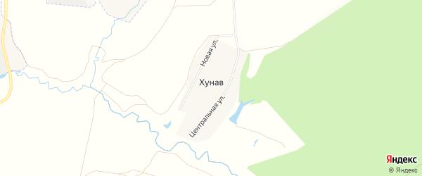 Карта деревни Хунав в Чувашии с улицами и номерами домов