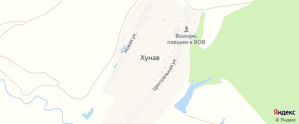 Переулок Николаева на карте деревни Хунав с номерами домов