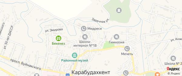 Почтовый переулок на карте села Карабудахкента с номерами домов