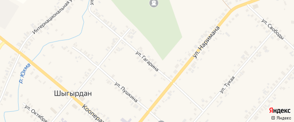 Улица Гагарина на карте села Шыгырдана с номерами домов
