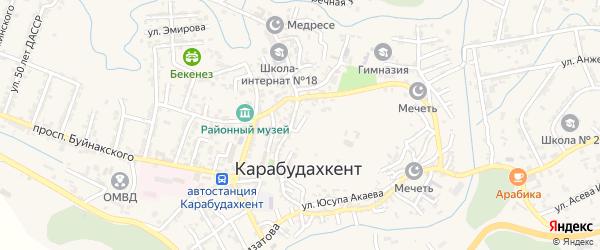 Подгоная улица на карте села Карабудахкента с номерами домов