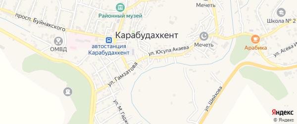 Красногвардейская улица на карте села Карабудахкента с номерами домов