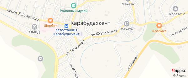 Улица Казбекова на карте села Карабудахкента с номерами домов