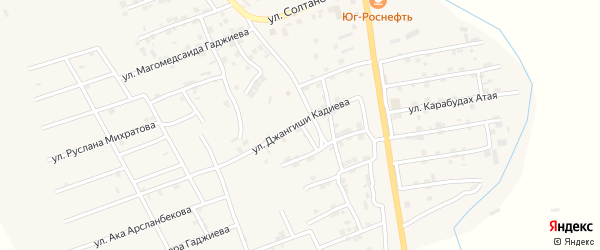 Улица Джангиши Кадиева на карте села Карабудахкента с номерами домов