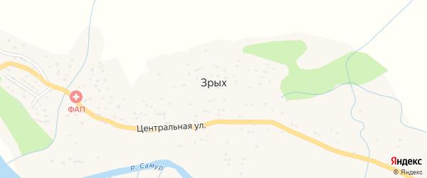 Центральная улица на карте села Зрых с номерами домов