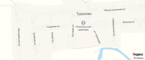 Луговая улица на карте села Туруново с номерами домов