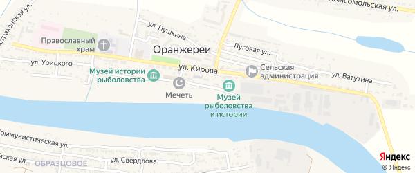 Набережная улица на карте села Оранжереи с номерами домов