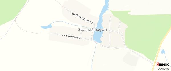 Карта деревни Задние Яндоуши в Чувашии с улицами и номерами домов