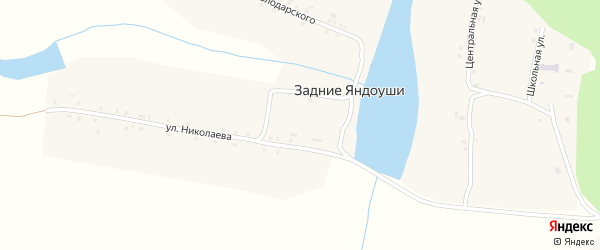 Мирный переулок на карте деревни Задние Яндоуши с номерами домов