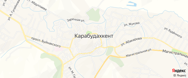 Микрорайон Мычыгышавул на карте села Карабудахкента с номерами домов
