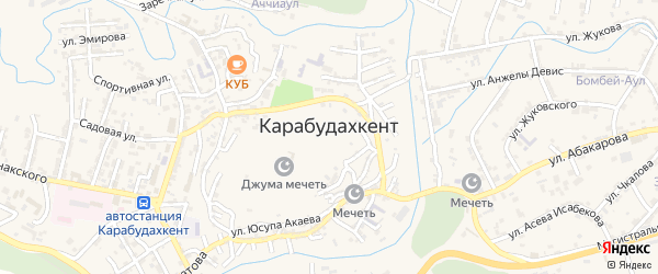 Улица Мугажира Мутагирова на карте села Карабудахкента с номерами домов