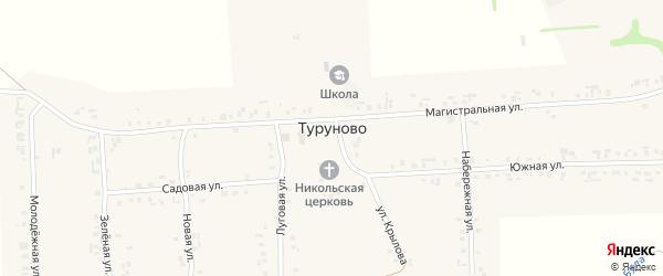 Улица М.Крылова на карте села Туруново с номерами домов