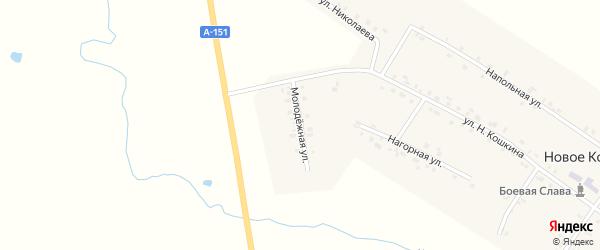 Молодежная улица на карте деревни Новое Котяково с номерами домов
