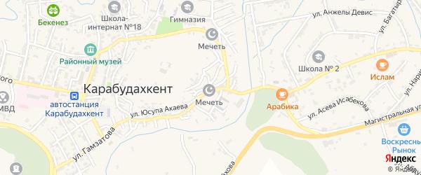 Улица Мамедбекова на карте села Карабудахкента с номерами домов