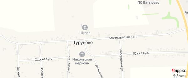 Магистральная улица на карте села Туруново с номерами домов