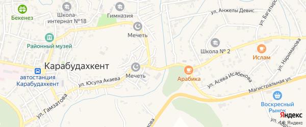 Улица Гагарина на карте села Карабудахкента с номерами домов