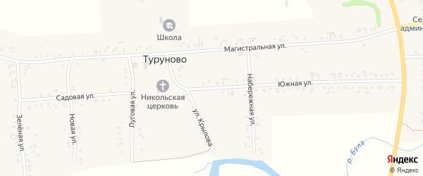 Южная улица на карте села Туруново с номерами домов